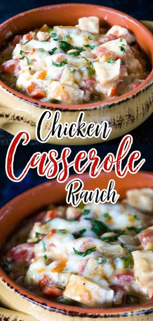 pinnable image for chicken ranch casserole.