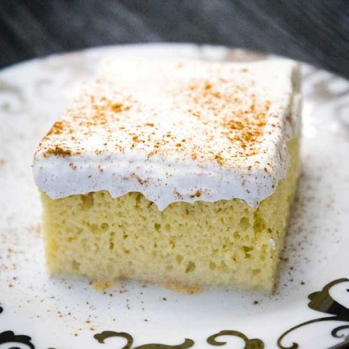 A single serving of Easy Tres Leches Cake on a plate