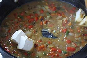 cream cheese in the thickened vegetable mixture.