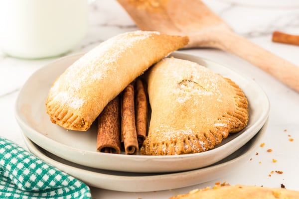 Two browned air fryer pumpkin hand pies on a white plate with one flat on the plate and the other pie laying horizontally against the bottom pie and cinnamon sticks between the pies on the plate.